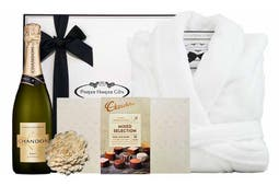100% Microplus Bathrobe (One Size Fits all), Chocolatier Australia Mixed Selection of chocolates (18 pieces) and Chandon Brut Non Vintage 750ml.  Beautifully packaged in our signature gift box.