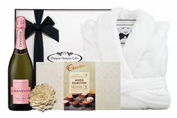Chandon Brut Rosé 750ml, 100% Microplush Bathrobe (One Size Fits All) and a box of Chocolatier Australia Mixed Selection of Chocolates (18 piece) all beautifully packaged in our signature gift box.