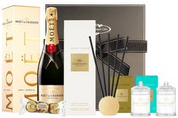 Moët & Chandon Champagne with Glasshouse Fragrances Scent Scene (10 stem & metal vessel) with Kyoto in Bloom 60g candle and Lost in Amalfi 60g candle beautifully packaged in PHG signature packaging