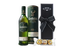 Bottle of Glenfiddich Single Malt Scotch Whisky Aged 12 years & chocolates beautifully packaged in our signature gift box