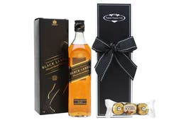 Johnnie Walker Black Label and some chocolates beautifully packaged in our signature gift box.