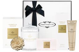 Glasshouse Fragrances Marseille Memoir Soy Candle 380g, Glasshouse Fragrances Marseille Memoir Body Bar 180g, Glasshouse Fragrances Marseille Memoir Hand Cream 100ml, beautifully packaged in our signature gift box.