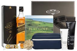 Johnnie Walker Black Label Whisky, Fifty Places to Play Golf Before You Die hardcover book with chocolates and a selection of Charles+Lee men's skin care products beautifully packaged in our signature gift box