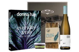Donna Hay Everyday Fresh Cookbook with Gemtree Organic white wine, artisan crackers and quince paste beautifully packaged in our signature gift box.