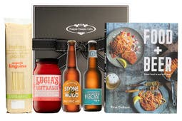 Ross Dobson's Food + Beer Cookbook with Lucia's Classic Arrabbiata Sauce, organic linguine, Stone & Wood Pacific Ale and Mountain Goat Pale Ale boxed exquisitely in our signature gift box
