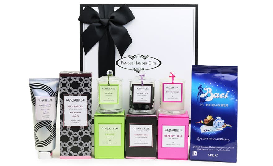 Image of Glasshouse Candles of Happiness & Baci Gift Hamper For Women