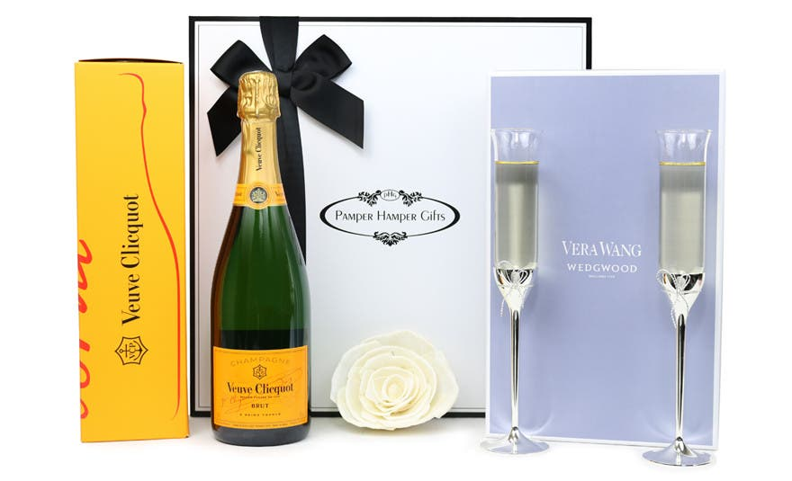 Image of Celebrate with Vera Wang Flutes and Veuve Clicquot Luxury Hamper