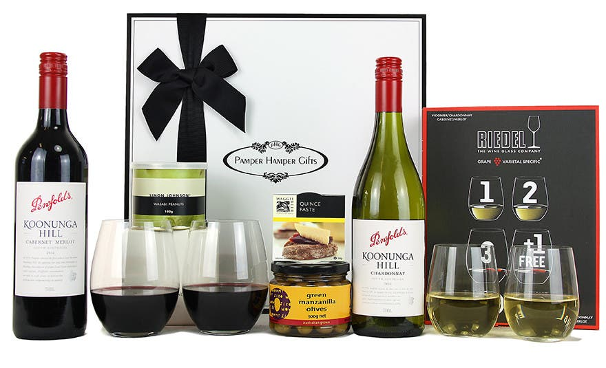 Image of Penfolds & Riedel Red and White Wine Gift Hamper